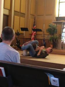 that's me in a triangle choke hold...
