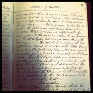 Original, handwritten copy of the church constitution circa 1869