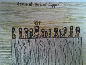 The Last Supper. Crayon on Paper. U.S.A., Contemporary.