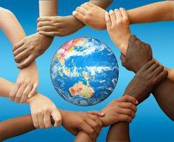 hands across the world.